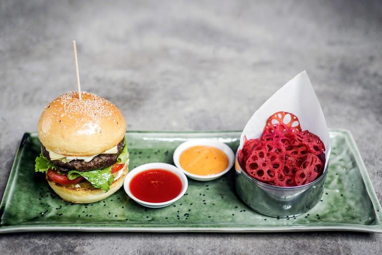 Fusion asian beef burger