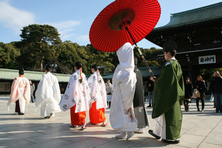 The first stop on this tour is the Meiji Jingū Shrine, where many traditional Shinto Japanese weddings take place