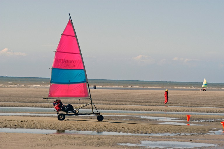 Sand yachting is a popular activity on Brittany's long, sandy beaches