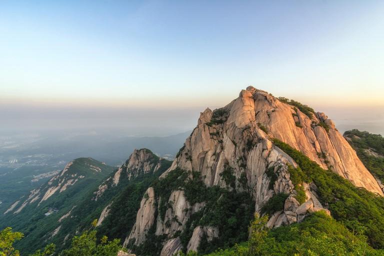 Baegundae highest mountains in the morning Bukhansan in seoul,south Korea,national park