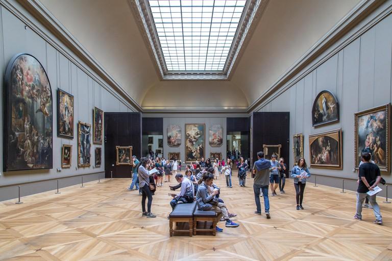 Inside the Louvre Museum, Paris.