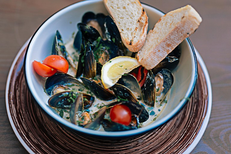 Mussels in a cream sauce