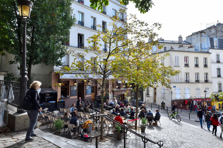 Restaurants and cafés in Montmartre, Paris.