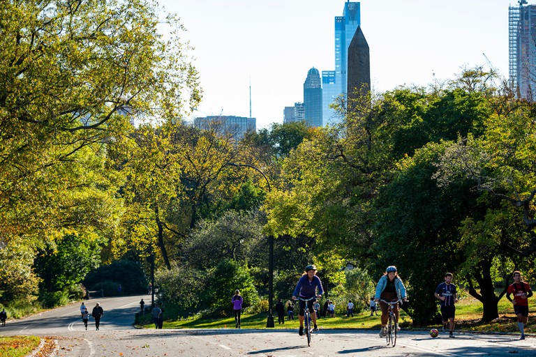 People riding bicycles in Central Park, Manhattan, New York
