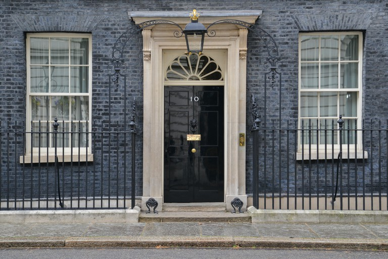 The door of 10 Downing Street, London.