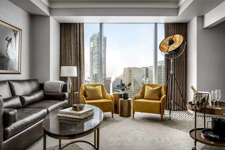 The guest rooms and suites at The Ritz-Carlton, Toronto, have floor-to-ceiling windows for spectacular views