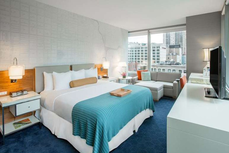 Each room at the Kinzie Hotel is bright and airy