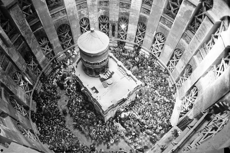 Church of the Holy Sepulchre in Jerusalem's Old City in 1941 as seen from its dome