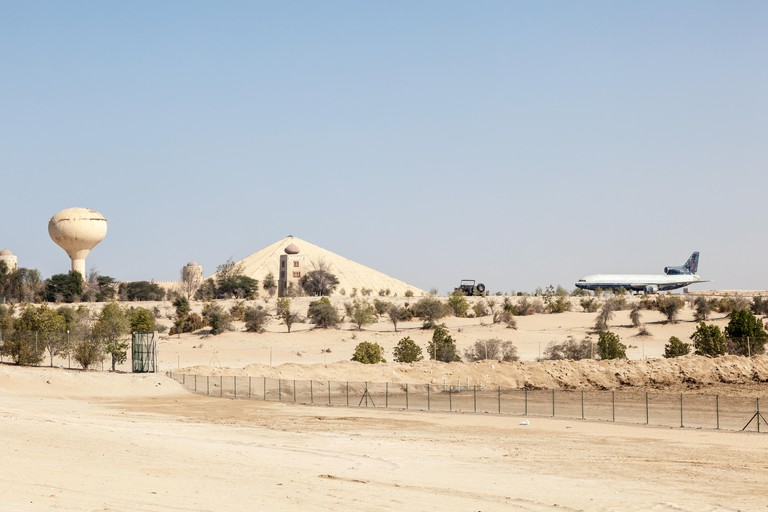 The Emirates National Auto Museum is shaped like a pyramid