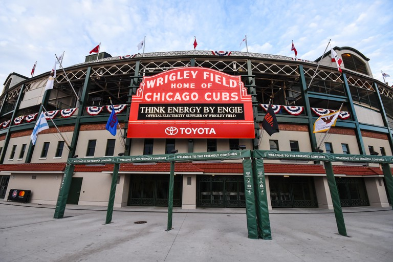 The legendary marquee of Wrigley Field. Wrigley Field is a baseball park located on the North Side of Chicago, Illinois. It is the home of the Chicago