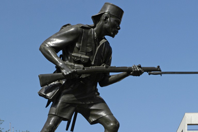 The Askari Monument honours the Tanzanian soldiers who died in action during World War I