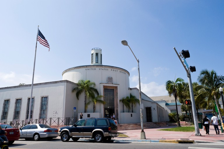 The Miami Beach Post Office houses a three-paneled 1941 mural painted by Charles Hardman