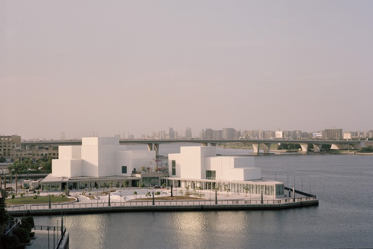View of the peninsular site and surrounding waterfront promenade, at Jameel Arts Centre, Dubai.