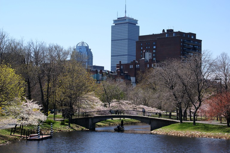 Boston's esplanade with the view of Prudential building.