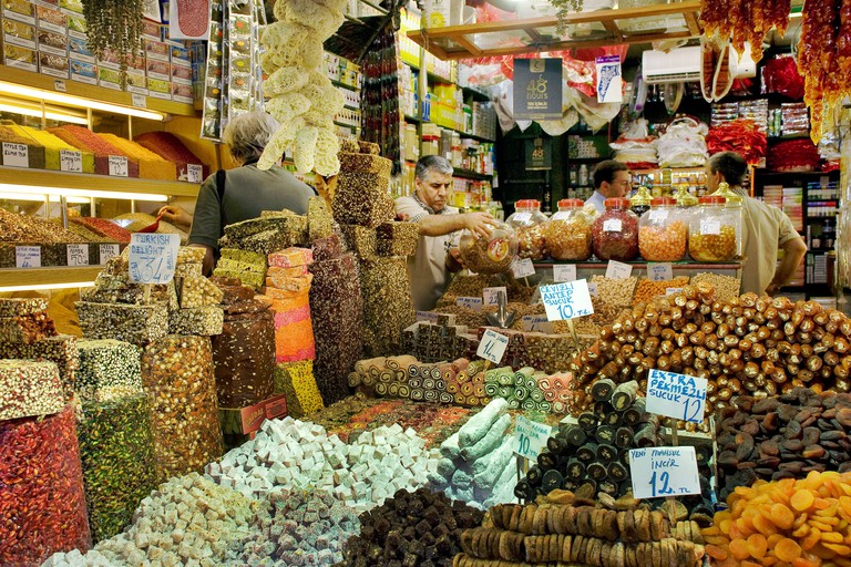 Turkish delights in Spice Bazaar, Istanbul, Turkey.