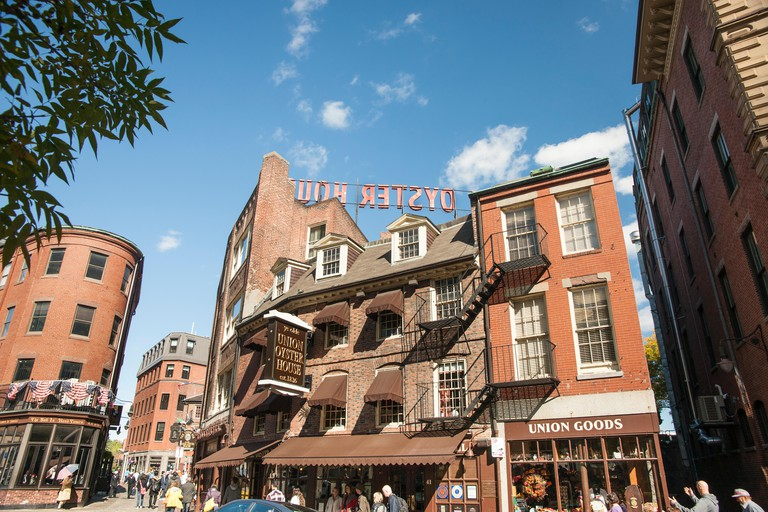 Boston Victorian architecture, famous Union Oyster House since 1829  the oldest restaurant in USA located on Freedom trail