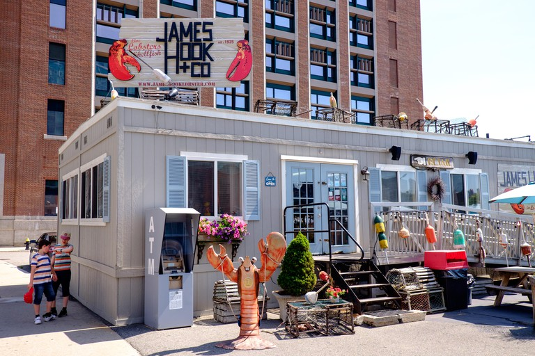 James Hook and Co selling lobsters and shellfish on the waterfront area of Boston, USA