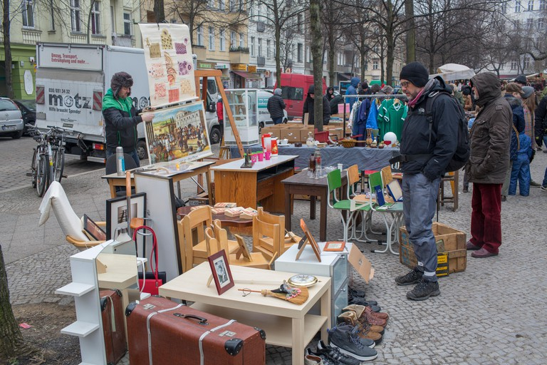 Flea market at the Arkonaplatz in Berlin, Germany
