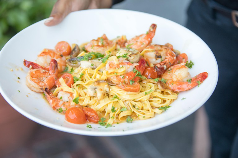 Shrimp and Garlic on fresh pasta, Legal Sea Foods restaurant, Boston, MA, USA