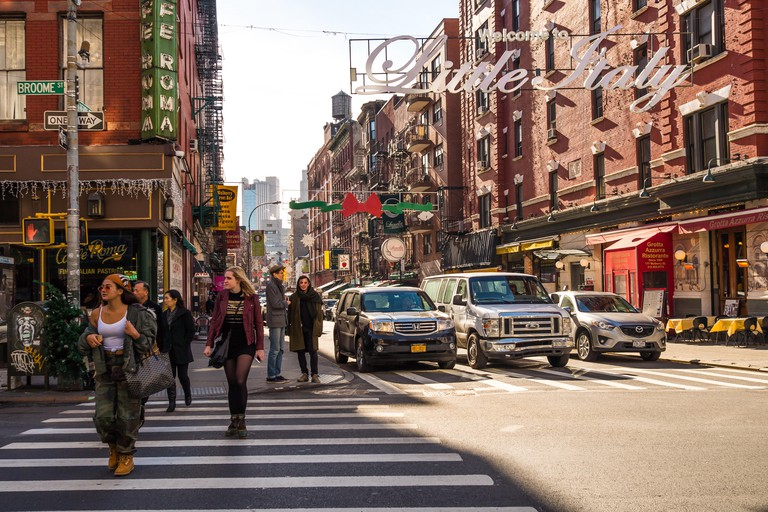 Little Italy Sign at Mulberry Street intersection with Broome Street, Nolita, Manhattan, New York City