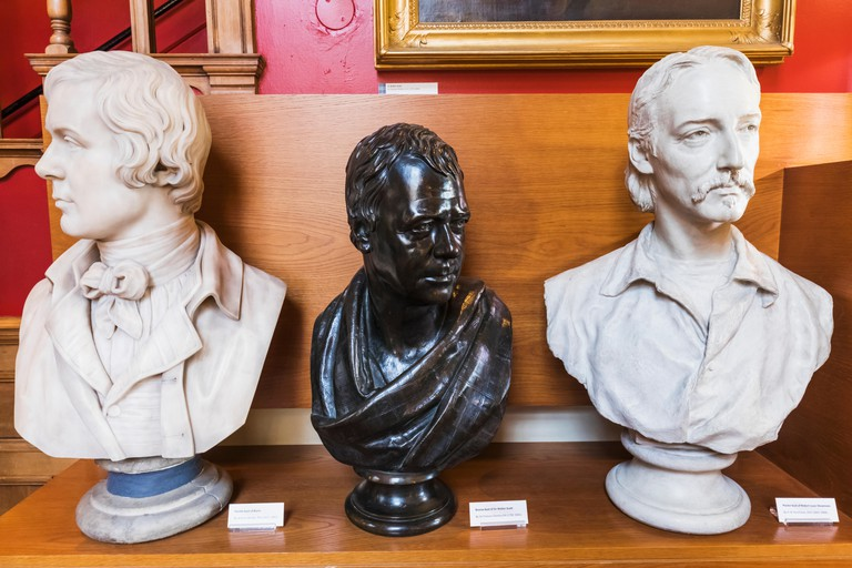 Great Britain, Scotland, Edinburgh, The Writers' Museum, Busts of  Robert Burns and Robert Louis Stevenson and Sir Walter Scott