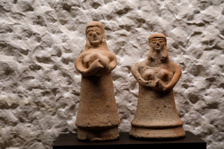 Baked clay figurines from the Iron Age on display in the Terra Sancta Museum