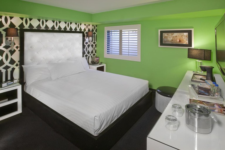 The boutique-style Cabana Suites at the El Cortez Hotel and Casino have a retro vibe