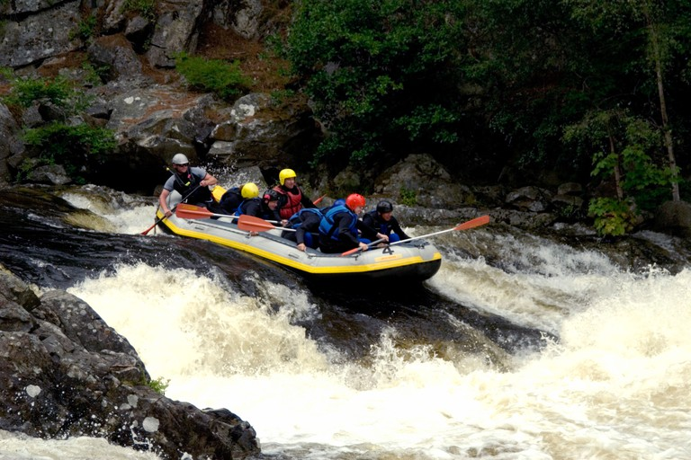 White water rafting on the River Tummel near Pitlochry, Perthshire, Scotland.