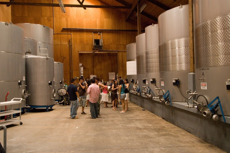 Stainless steel barrels at Eberle Winery in Paso Robles, California