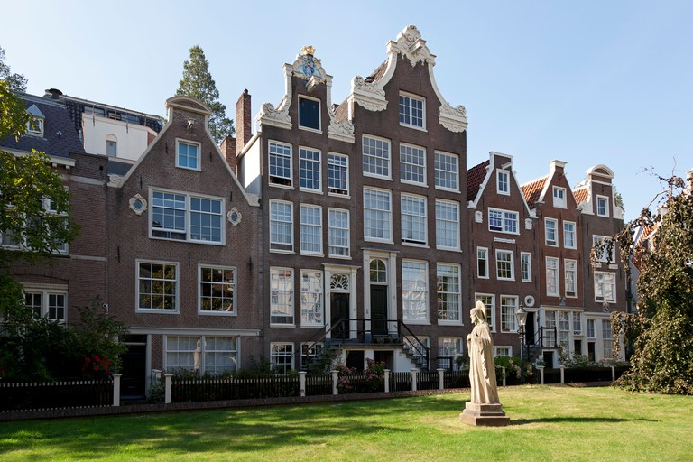 Row of houses in the Begijnhof in Amsterdam, Netherlands.