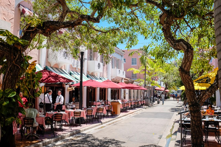 Restaurants, hotels and shops on Espanola Way, a Mediterranean style street in South Beach Miami.