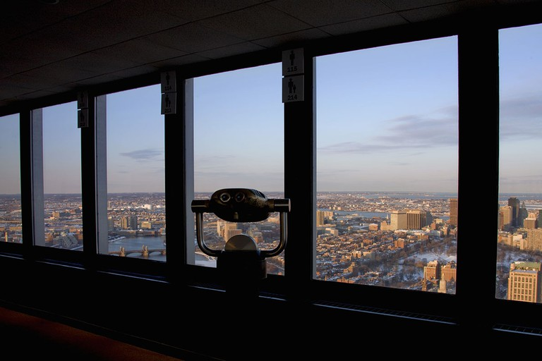 Viewing telescope at Prudential Skywalk observatory, view to Beacon Hill, Boston, Massachusetts, USA