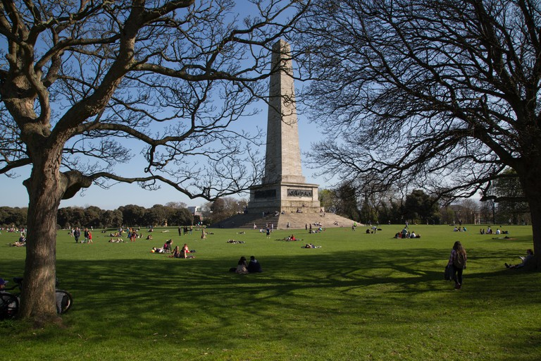 The Wellington Memorial obelisk in Phoenix Park in Dublin city, Ireland.