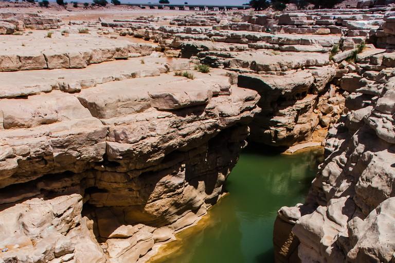 The Hidden Canyon near Riyadh, Saudi Arabia.