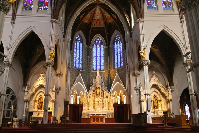 The Cathedral of the Holy Cross serves as the seat of the Archdiocese of Boston