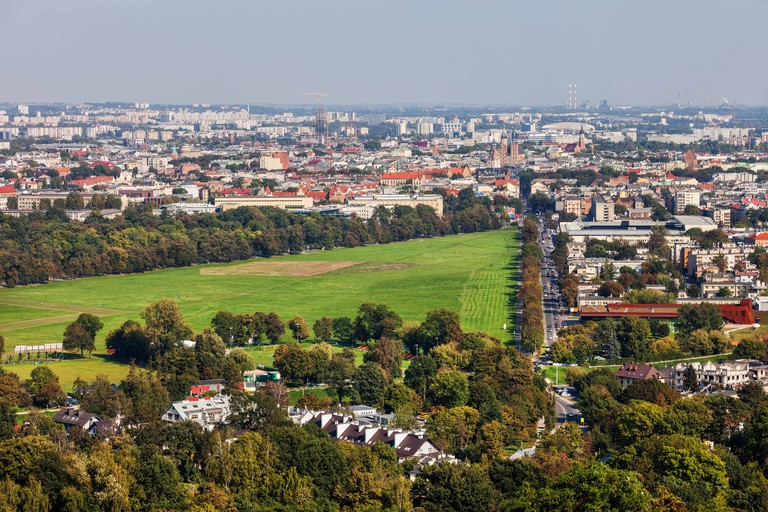 City of Krakow in Poland from above, aerial view cityscape with Blonia Park