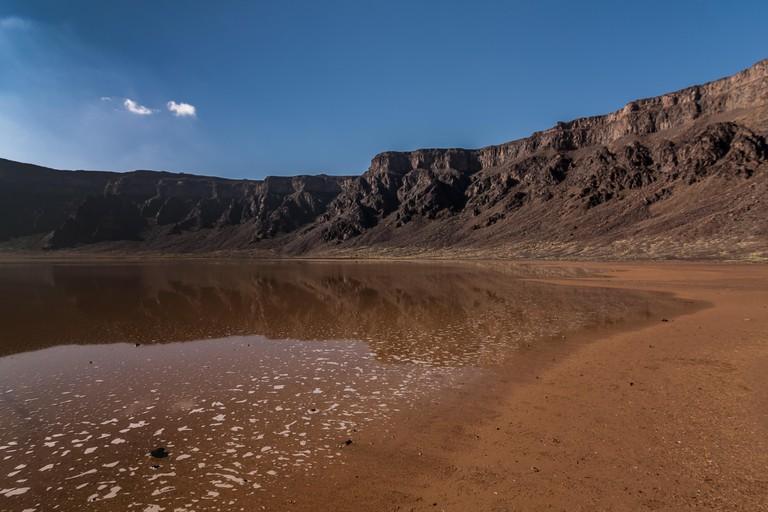 A bottom of the caldera of the Al Wahbah crater, Saudi Arabia.