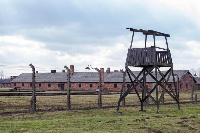A watchtower in concentration camp Auschwitz Birkenau Polen, March 12, 2019