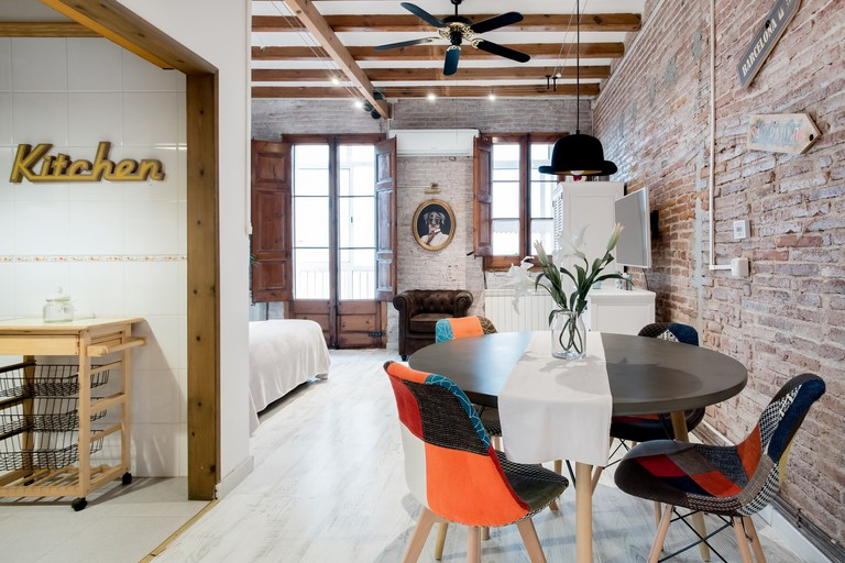 Woodwork is prevalent through this apartment's design