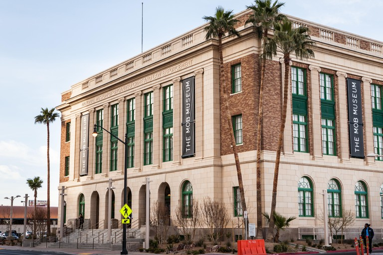 Exterior view of the Mob Museum opened in a former courthouse in Las Vegas on February 14, 2012. The $42 million dollar museum features exhibits on organized crime in America with emphasis on their role in Las Vegas.