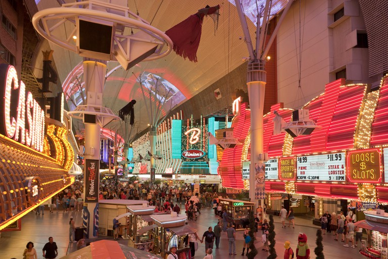 USA, United States, America, Nevada, Las Vegas, City, Freemont Street, Neon sign, casinos, colourful, colours, crowded, downtown