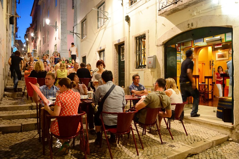 Portugal Lisbon Bairro Alto district restaurant in the pedestrian street travessa dos Fieis de Deus