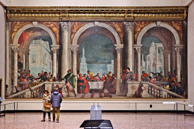 Paolo Veronese's Feast in the House of Levi in Gallerie dell'Accademia, Venezia (Venice), Italy.