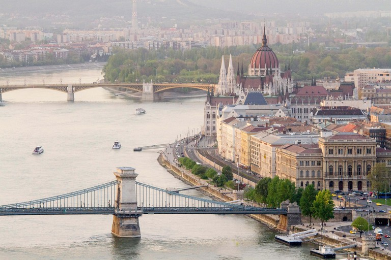 Panoramic views of Budapest from Gellert hill, Hungary.