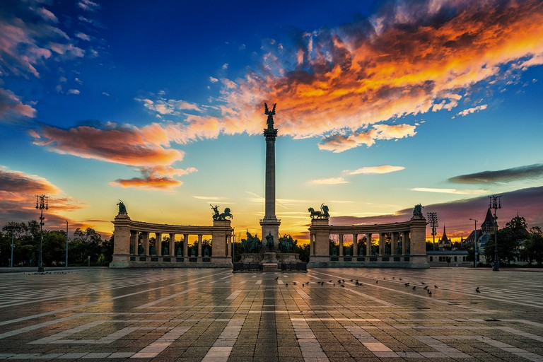Heroes Square at dawn, Budapest, Hungary