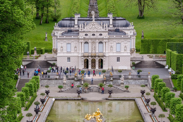 ETTAL, GERMANY - JUNE 5, 2016: Linderhof Palace is a Schloss in Germany, in southwest Bavaria. It is the smallest of the three palaces built by King L