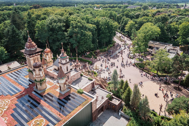 View from above on the Symbolica attraction in the amusement park Efteling in The Netherlands
