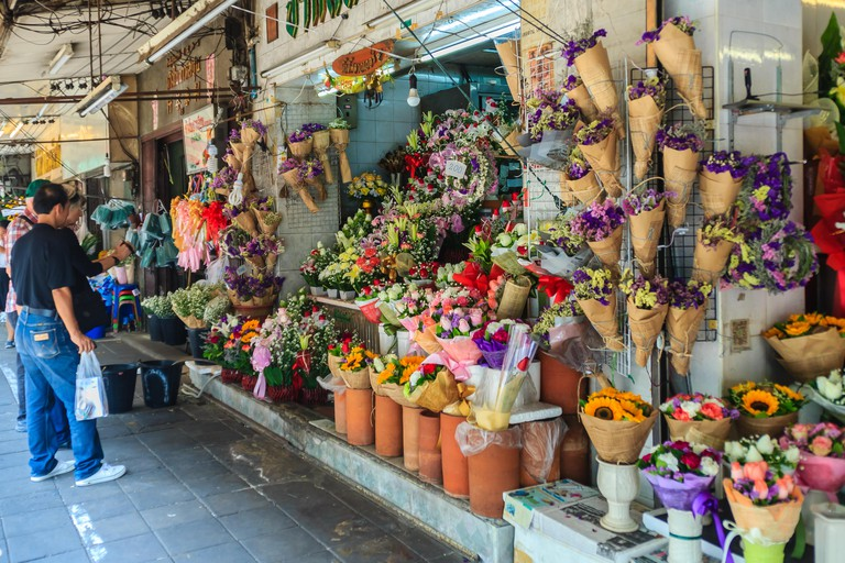 Pak Khlong Talat is a huge flower market in Bangkok