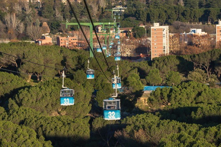 Cable car over casa de campo park in Madrid, Spain.. Image shot 07/2018. Exact date unknown.