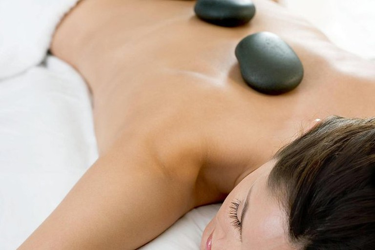 Relax with a hot lava stone massage